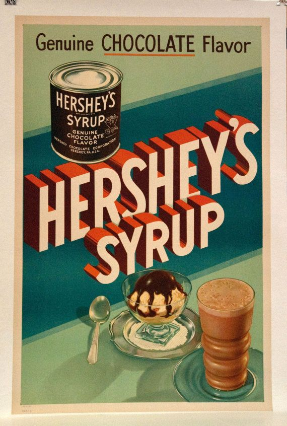 Original Vintage Hershey's Syrup Poster by HodesH on Etsy ...