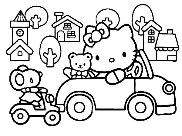 Hello Kitty Driving Car Around Town Coloring Pages Best Place To Color Hello Kitty Coloring Hello Kitty Colouring Pages Kitty Coloring