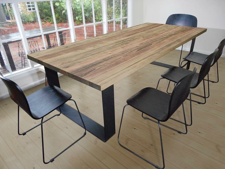blackwood dining table on metal loop legs diningtable