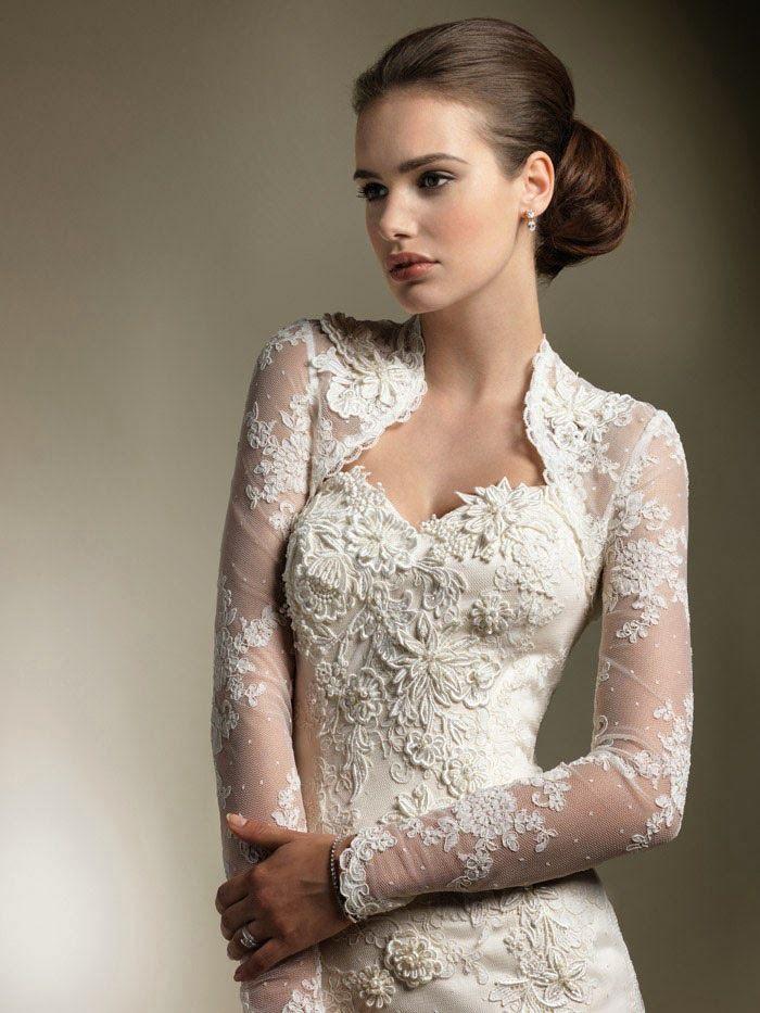Elegant Long Sleeve Lace Bolero Jacket Wedding Accessories Shrug Wraps Bridal Crep