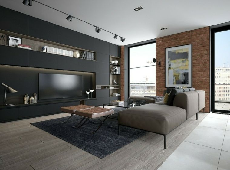 Saloni moderni e un\'idea di arredamento con parete in cartongesso di ...