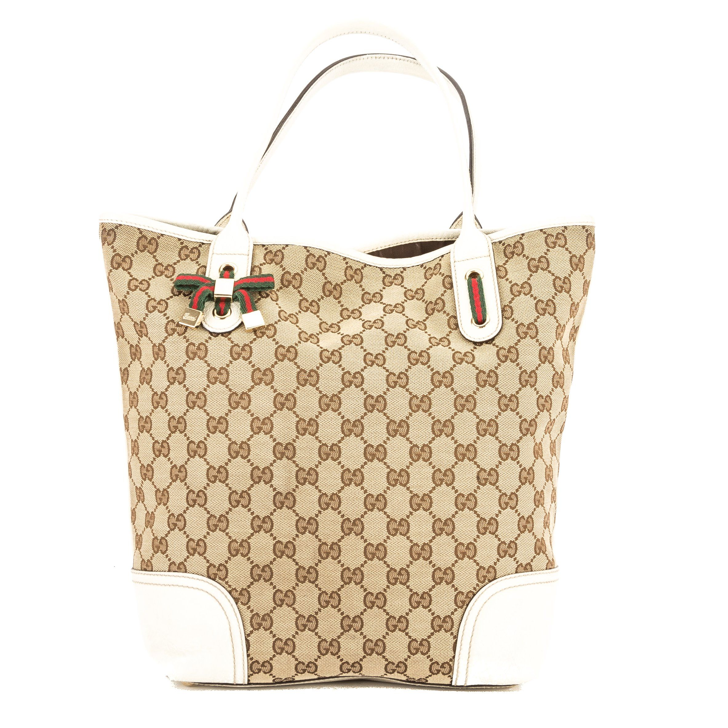 5448f9628d8 Gucci White Leather GG Monogram Canvas Web Tote Bag (Pre Owned)