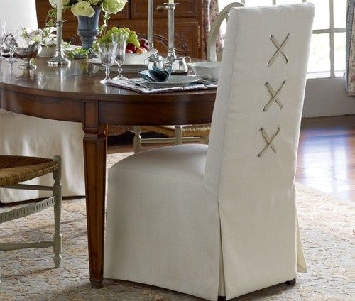 Tie Back And Corseted Slipcovers A Fun Way To Dress Up Plain Parsons Chairs Driven By Decor Slipcovers For Chairs Dining Chair Slipcovers Dining Chairs