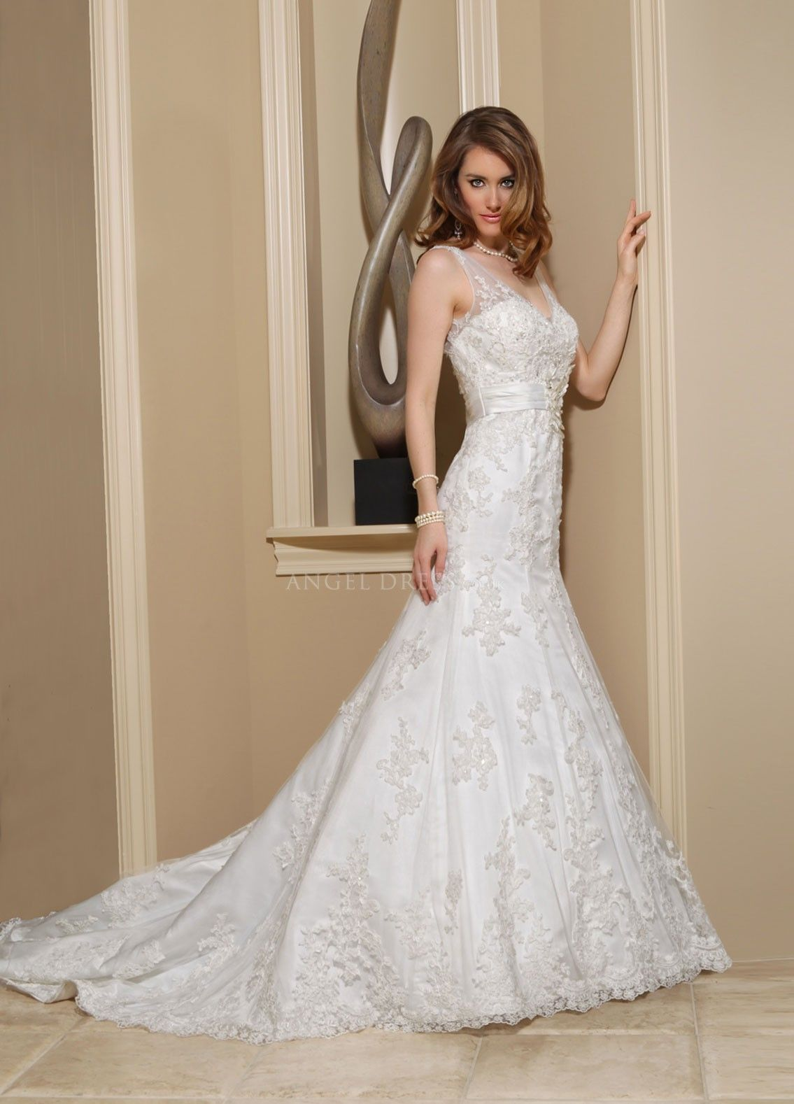 V Neck Fit N Flare Floor Length With Sash/ Ribbon Tulle & Lace Elegant Bridal Gown