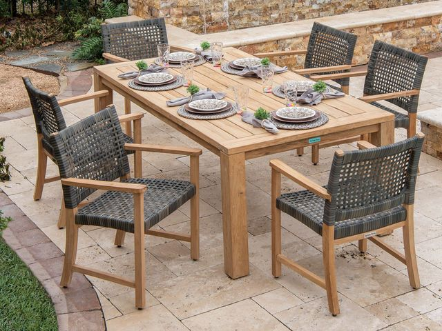 Hampton 7 Pc Solid Teak Woven Resin Wicker Dining Set Fortunoff