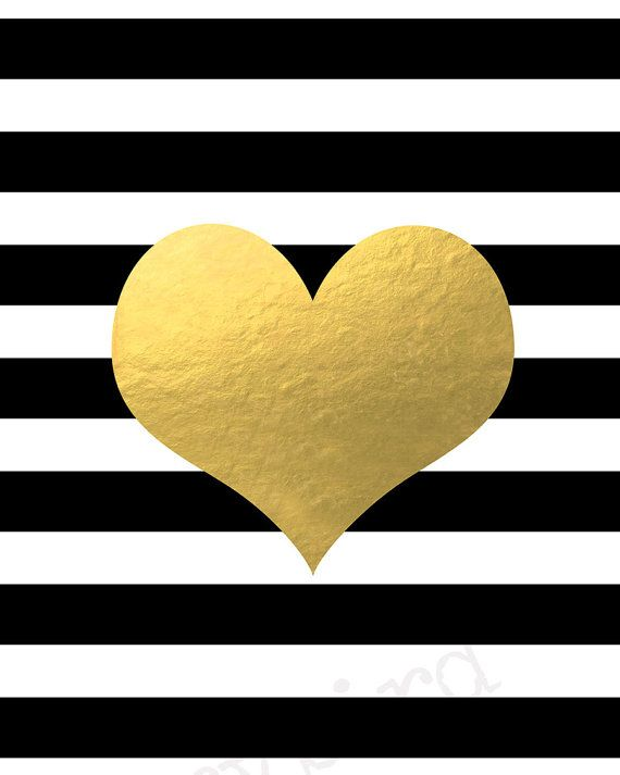 Heart on Black and White Stripes - Faux Gold Foil Wall Art - 5x7 ...