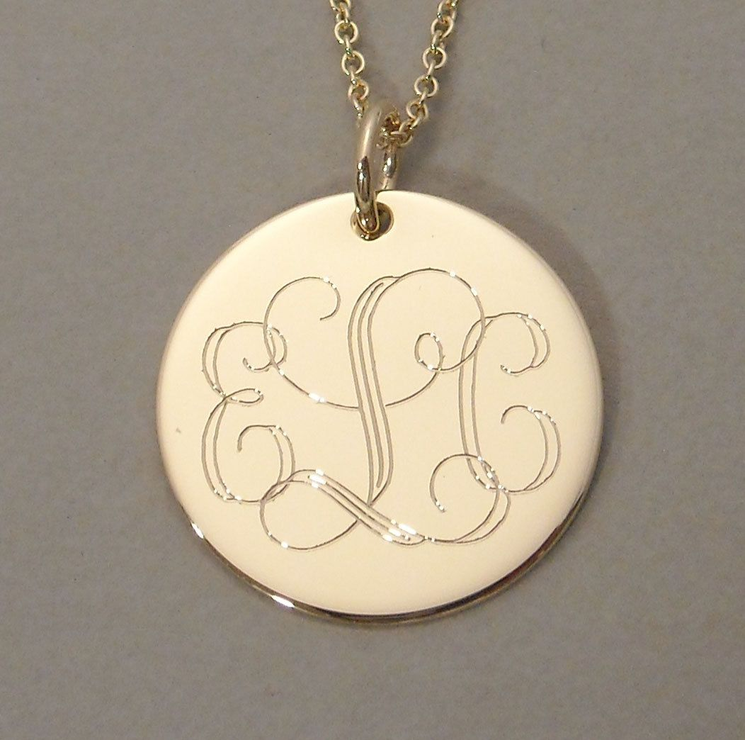 Monogram gold pendant diamonds and pearls pinterest gold monogram gold pendant mozeypictures Image collections