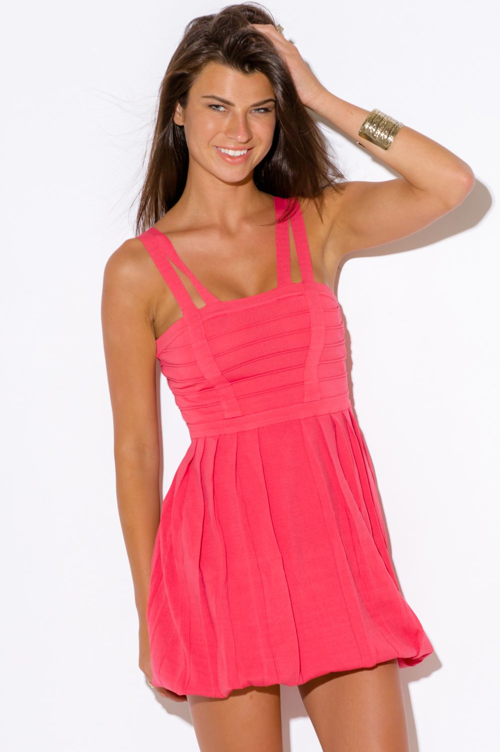 29297d7c3ad8 LITTLE SECRETS | coral pink knit bubble cocktail party bandage club mini  dress - 1015store.com