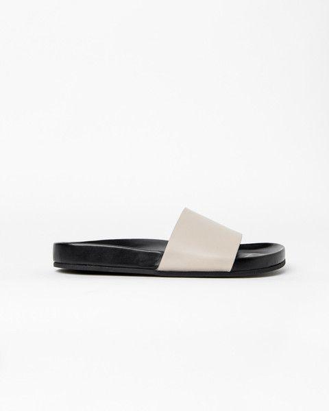 Mohawk - Leather BK Slide in Off White - http://www.mohawkgeneralstore.com/products/leather-bk-slide-in-off-white