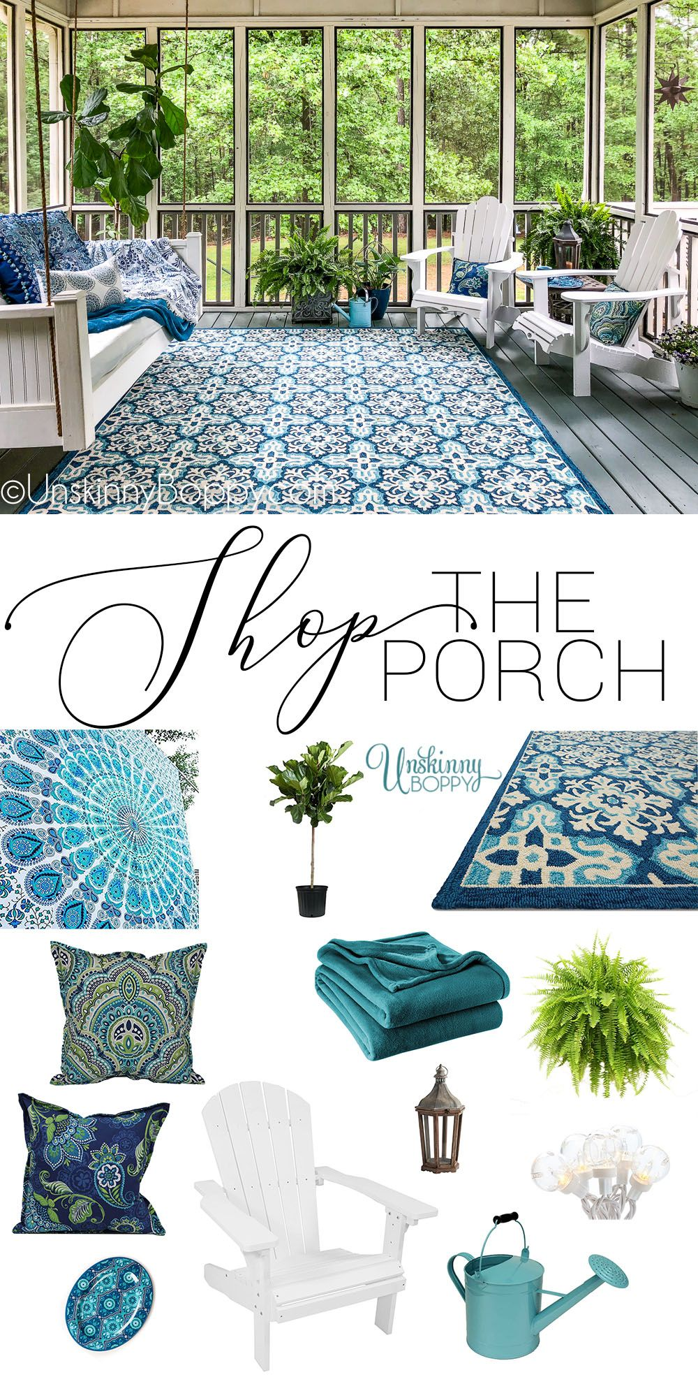 Screened-in Back Porch Decorating Ideas with Swinging Day Bed