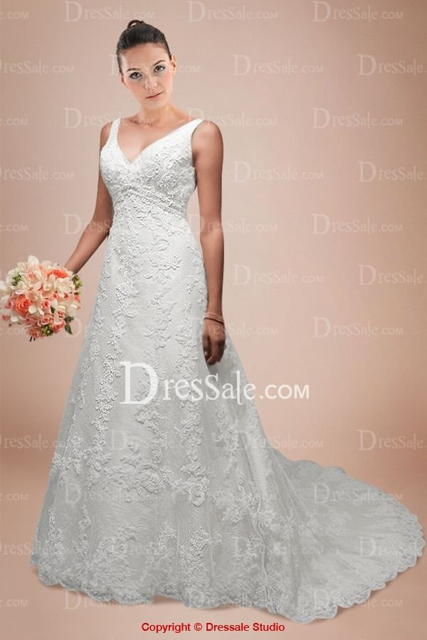 New Fashion Wedding Dress with the V-neckline and the Slim Skirt