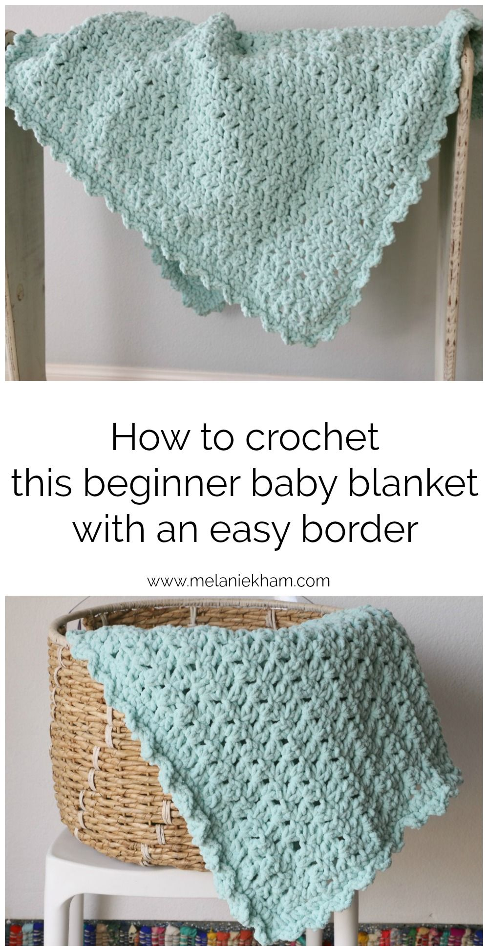 How to crochet this beginner baby blanket with simple border using ...