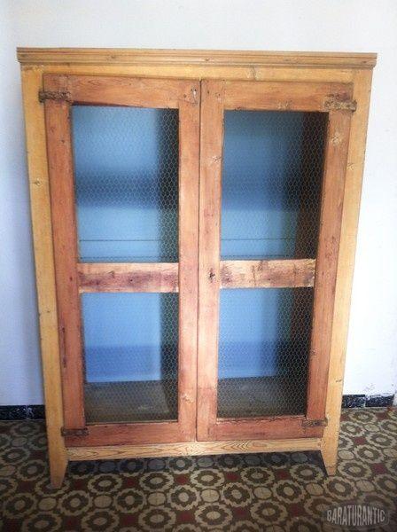 Antiguo Armario Fresquera- Alacena con Tela de Gallinero | vitrinas ...