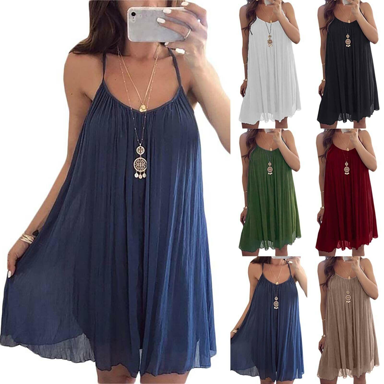 Damen Trägerkleid Sommerkleid Knielang Lose Tunika Kleider