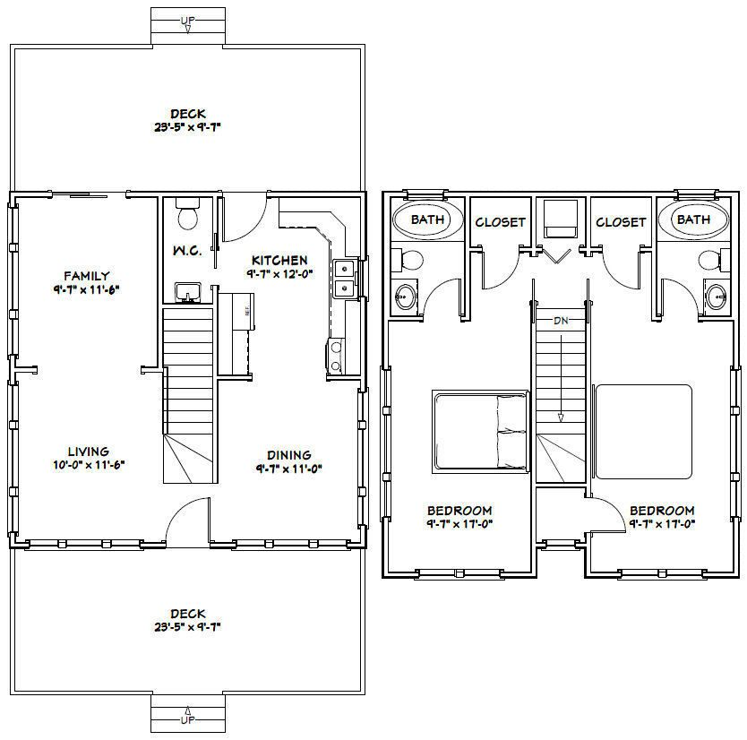 24x24 House 24x24h2a 1 143 Sq Ft Excellent Floor Plans
