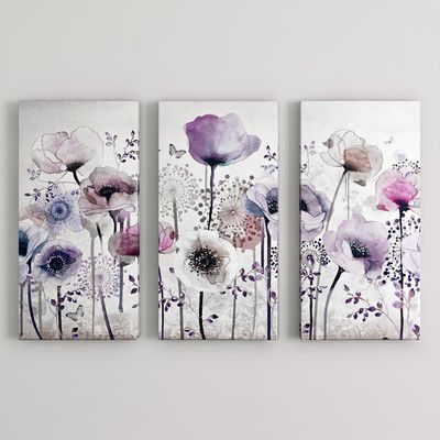 You Ll Love The Classic Poppy 3 Piece Graphic Art Wrapped On Canvas Set At Wayfair Co Uk Great Deals On All H Purple Wall Art Flower Wall Art Canvas Wall Art