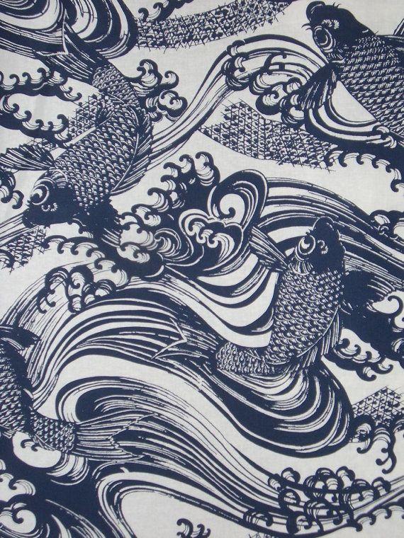 Japanese indigo katagami fish print fabrics i love for Big fish printing