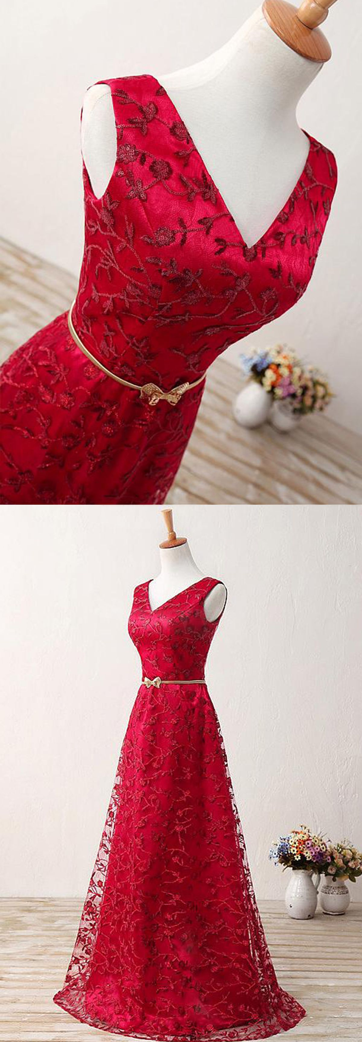 Stylish vneck red lace long prom dress with gold sash formatura