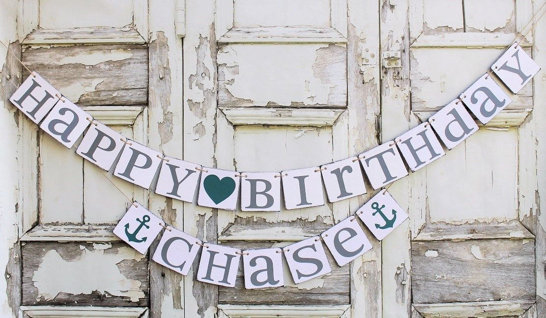 Happy Birthday Banners Signs Rustic Party Decor Personalized Name