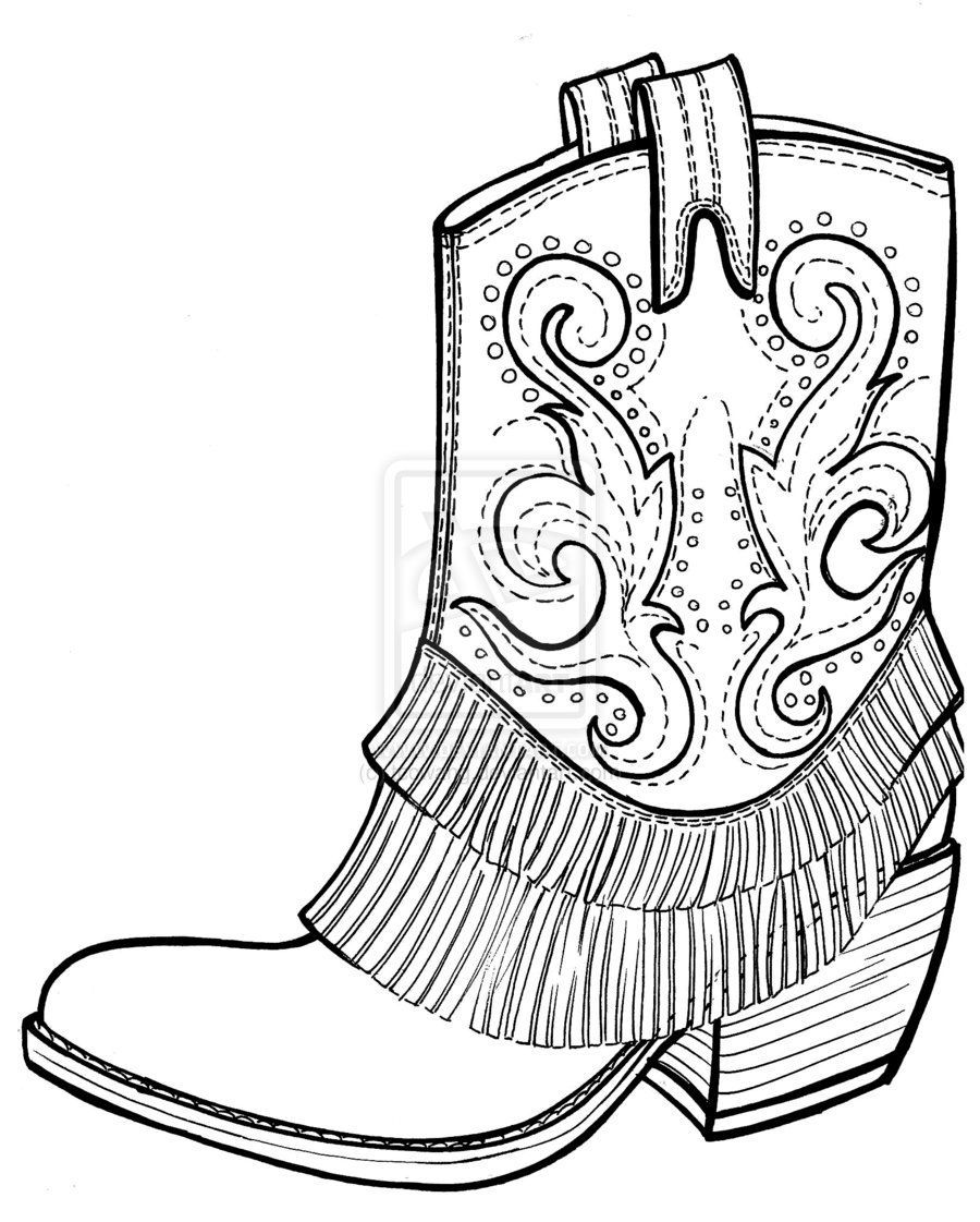 Free Picture Of Cowboy Boots Cowboy Boots Coloring Page