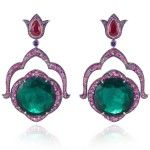 Earrings in 18k white gold set with round shaped emeralds of 22.11 carats and 21.66 carats each, 2 pear shaped rubies of 2.05 carats and 2.11 carats each and multicolored sapphires, rubies, emeralds, amethysts and tsavorites