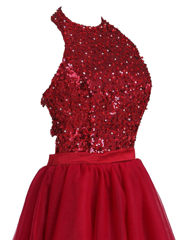 d9c299d7b02 LovingDress Short Prom Dresses Open Back Tulle A Line Halter Homecoming  Dresses at Amazon Women s Clothing store