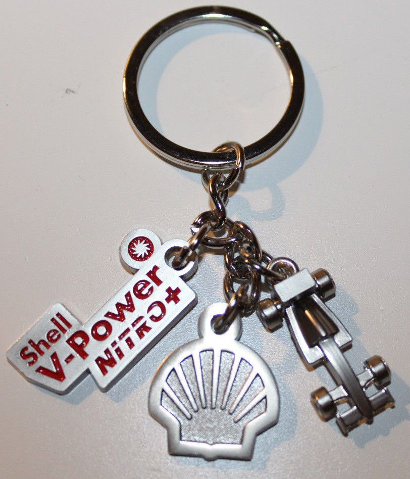 info for de175 39128 Shell Gasoline V-Power Nitro Keychain with 3 Parts Logo Race Car Great  Condition