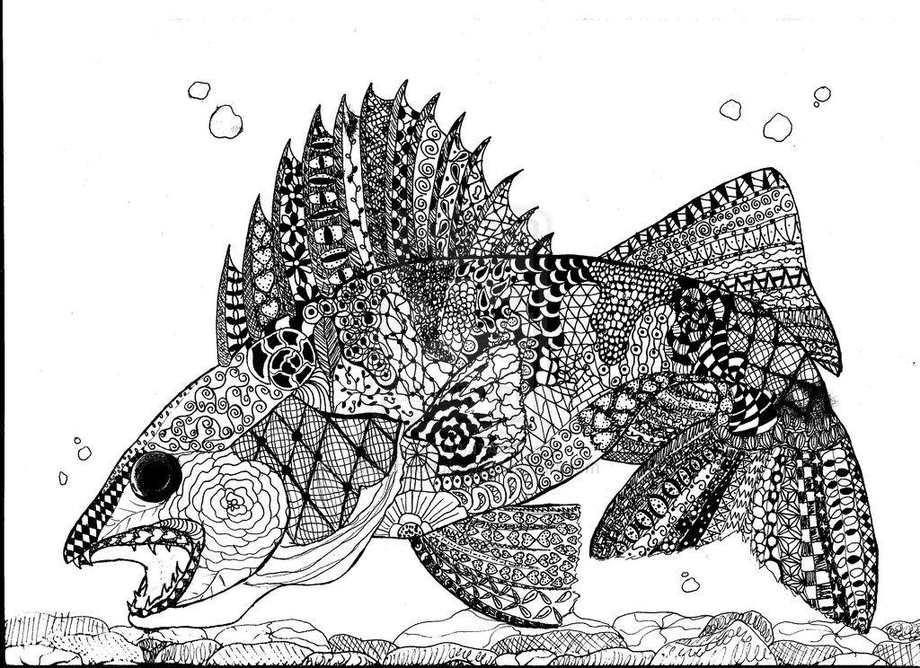 Zentangle Walleye By Takathesquirrel On Deviantart Zentangle Walleye Animal Coloring Pages