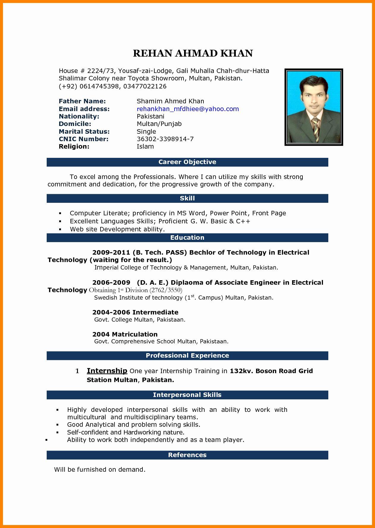 Resume Format Word For Office Boy Bellevior