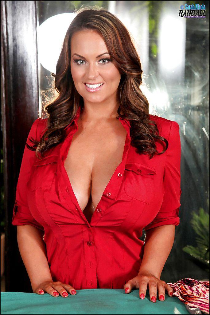 Good sarah randall red button shirt