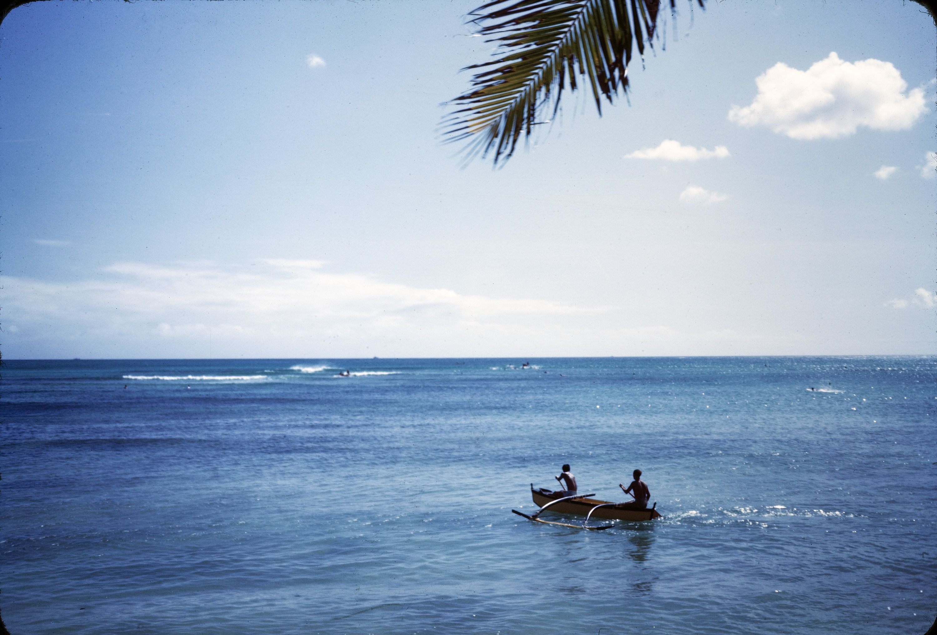 Two Men Paddle An Outrigger Canoe Wa A Waikiki Beach Honolulu Hawaii 1945 Photographer