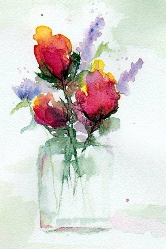 Loose Watercolor Flower Bouquet Pretty Art Painting Flower