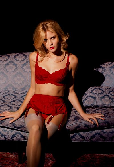 0864585c0 Lingerie Set  Brigitte Red Satin and Lace Bra