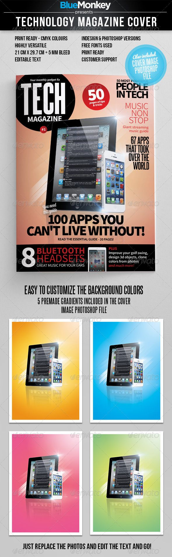 Tech Magazine Cover Template PSD, InDesign INDD. Download here ...