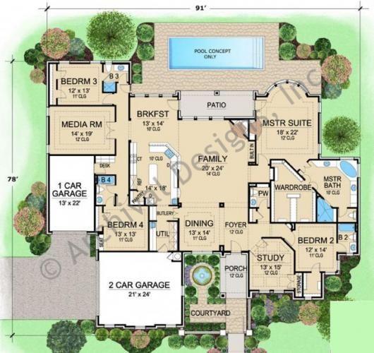 Best Selling Luxury House Plan VanAken Estate First Floor Plan ...