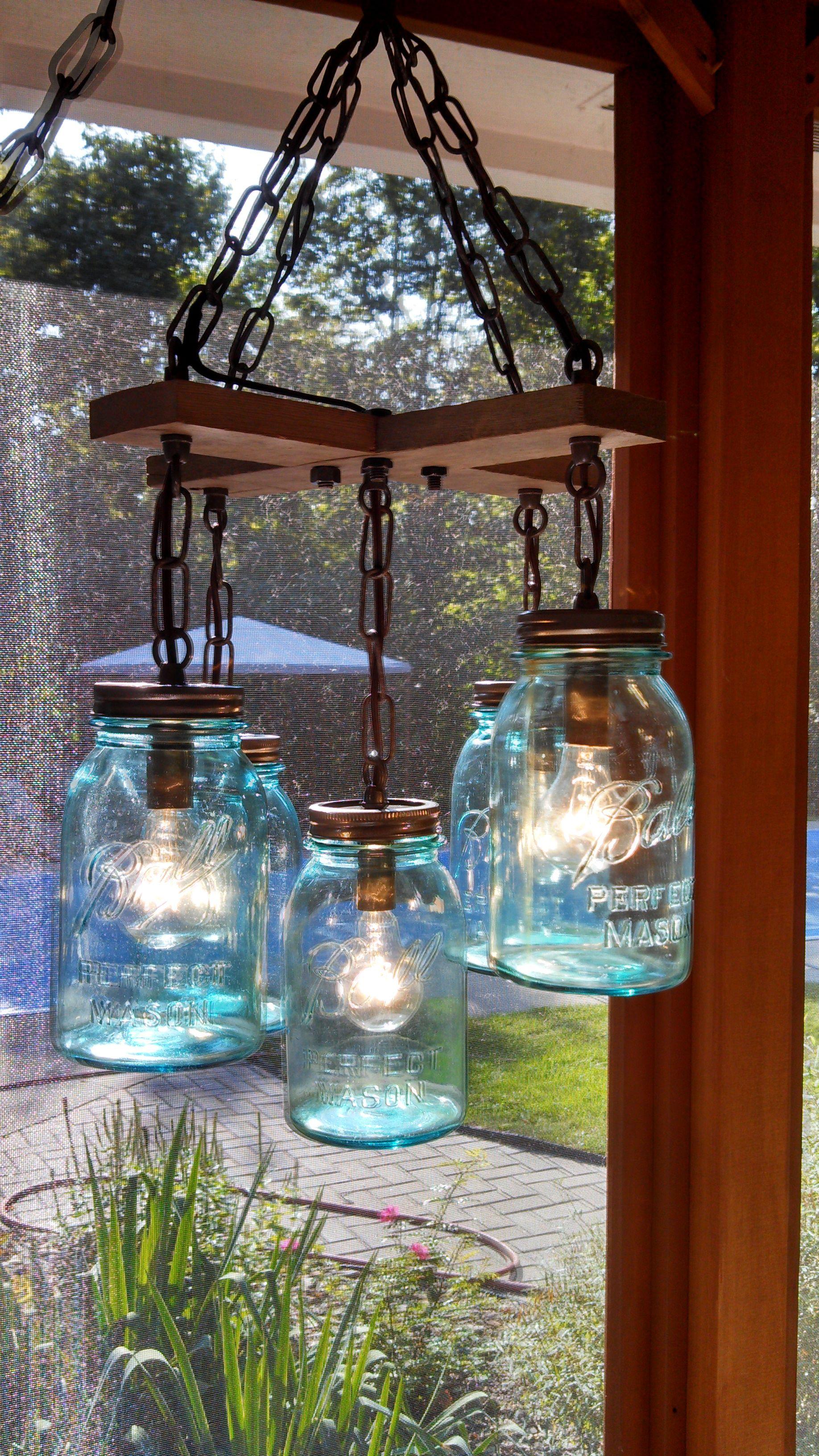 mason jar light fixture Projects to Try Mason jar