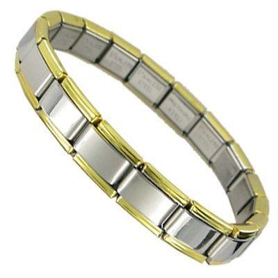 9mm Italian Charm Starter Bracelet Shiny With Gold Trim Edges 18 Charms Links
