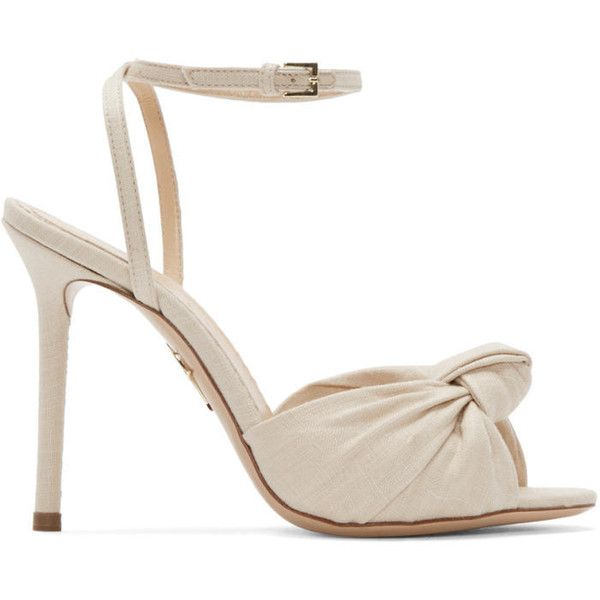 Charlotte Olympia Beige Izzy Heeled Sandals (432 CAD) ❤ liked on Polyvore  featuring shoes