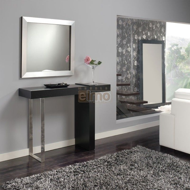 console entr e noir et pied m tal miroir assorti entree. Black Bedroom Furniture Sets. Home Design Ideas
