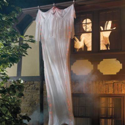 Gutter Hanging Ghost I Want This To Hang From The Upstairs Window But For The Wind Ghost Decoration Halloween Ghost Decorations Hanging Ghosts