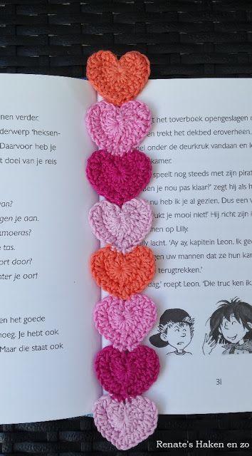 Boekenlegger Hartjes Bookmark Hearts Haken Pinterest Crochet