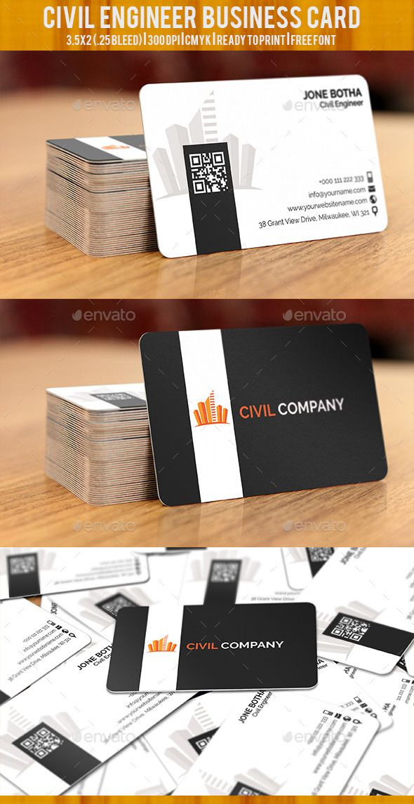 Civil Engineer Business Card | Business cards, Business and Font logo