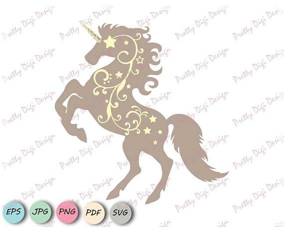 Digital Unicorn with swirls clip art, Unicorn eps, png, jpg, dxf