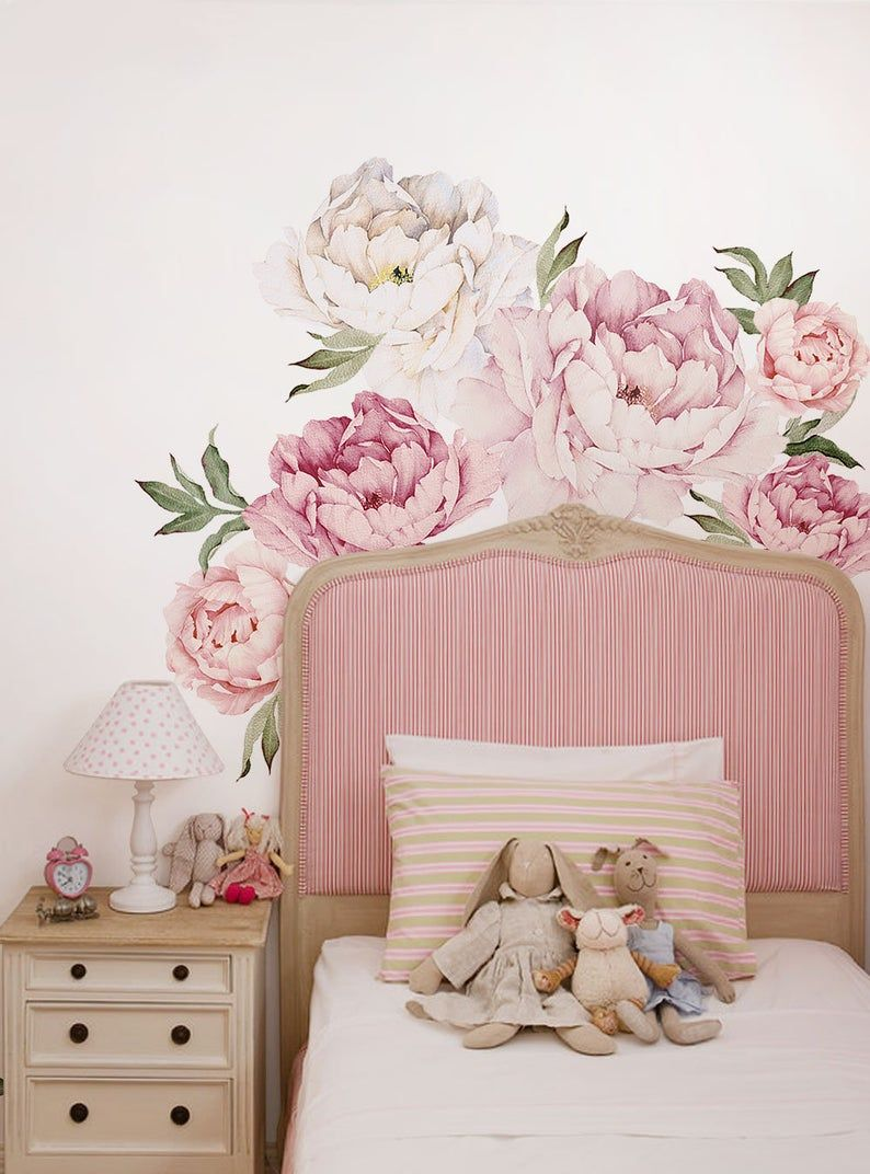 Peony Flowers Wall Sticker Mixed Pink Watercolor Peony Wall
