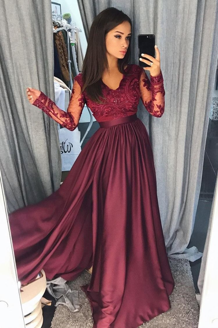 A Line Burgundy Long Sleeve V Neck Prom Dresses Lace Appliques Evening Dresses Long Formal Dresses Prom Dresses Dc237 Prom Dresses Long With Sleeves Prom Dresses With Sleeves Prom Dresses [ 1125 x 750 Pixel ]