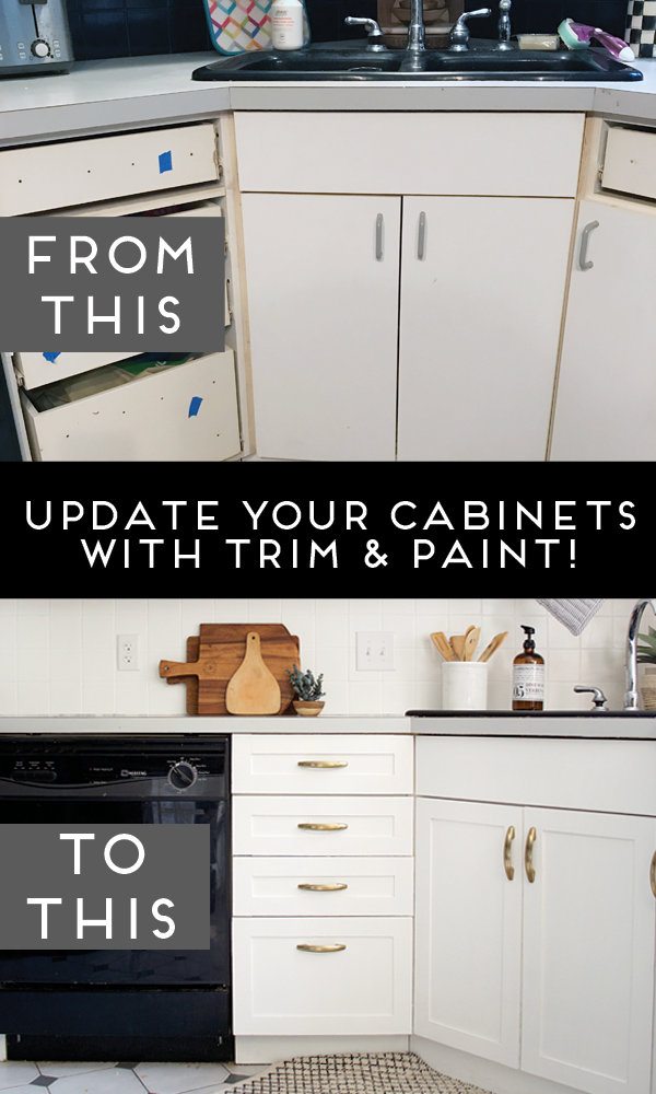 How to Add Trim and Paint Your Laminate Cabinets #kitchencabinetsorganization