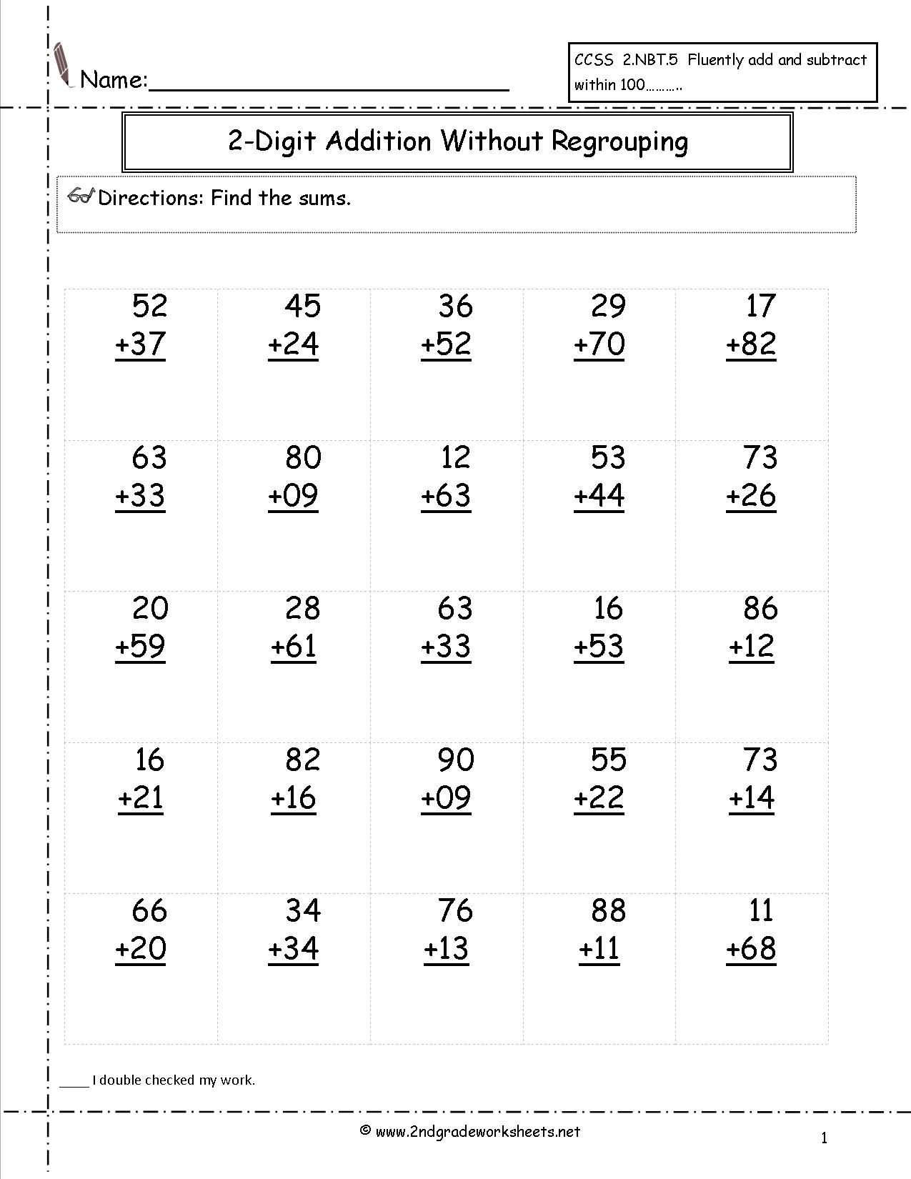 Free Addition Printable Worksheets Two Digit Addition With No