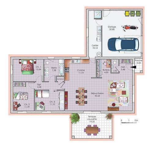 Plan habillé - maison - Vaste maison de plain-pied Plus Ma maison - maisons plain pied plans gratuits