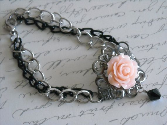 Vintage Peach Rose Bracelet Metal Bracelet by dmartinboutique