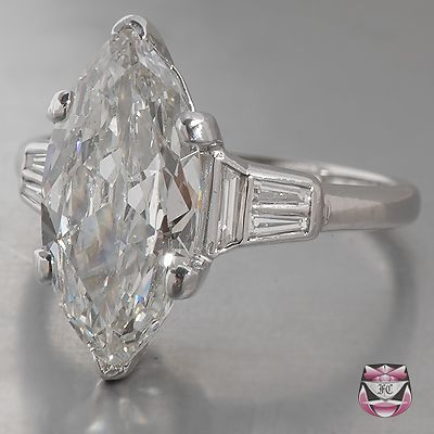 Another dream engagement ring! Art Deco Engagement Ring GIA, 2.78ct Marquise Diamond. Classy and unique <3